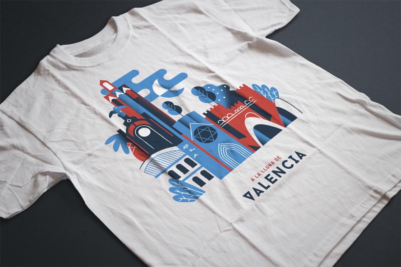 Ilustración de la Ciudad de Valencia sobre camiseta