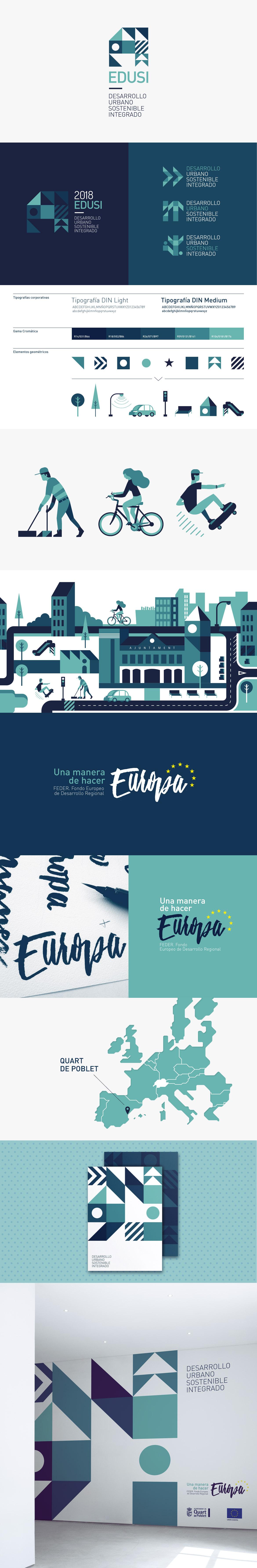 Identidad Corporativa, diseño gráfico y lettering de la EDUSI de Quart de Poblet en Valencia