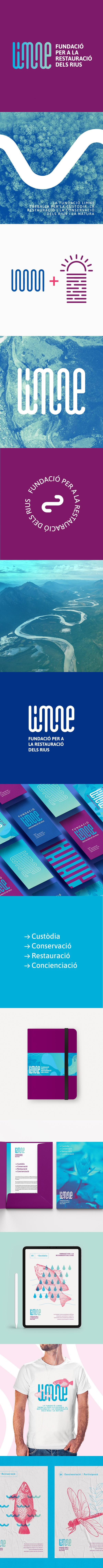 Logo e Identidad Corporativa de la Fundación Limne. Restauración de Rios. Diseño gráfico e ilustraciónes para la marca de la Fundación Limne.